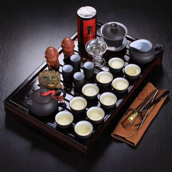 Chinesische kung fu tee-set porzellan fach lila grit keramik teekanne für die teetassen mit untertassen massivholz die teekanne 26 stücke