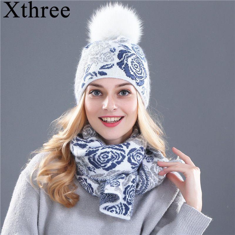 Xthree зимняя шапка шарф для женщин девушки шапочка шерсть вязаная шапка, шарф набор и большой реального норки помпоны из меха