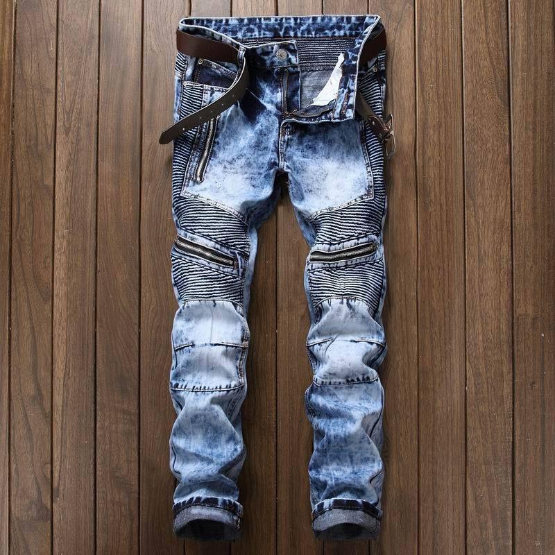 New Dropshipping High quality men's jeans Casual ripped biker jeans men hip hop pants straight jeans men punk denim trousers