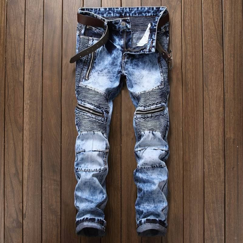 New Dropshipping High quality men's jeans Casual ripped biker jeans men hip hop pants straight jeans men punk denim trousers
