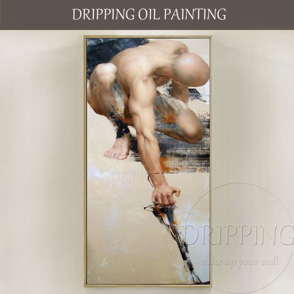 Top Artist Hand-painted High Quality Nude Man Oil Painting on Canvas Strong Nude Man Portrait Oil Painting for Living Room