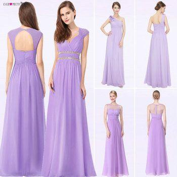 2019 Elegant Long Cheap Lilac Evening Dresses with Lace Appliques Ever Pretty Purple Women Party Dresses vestido de noiva