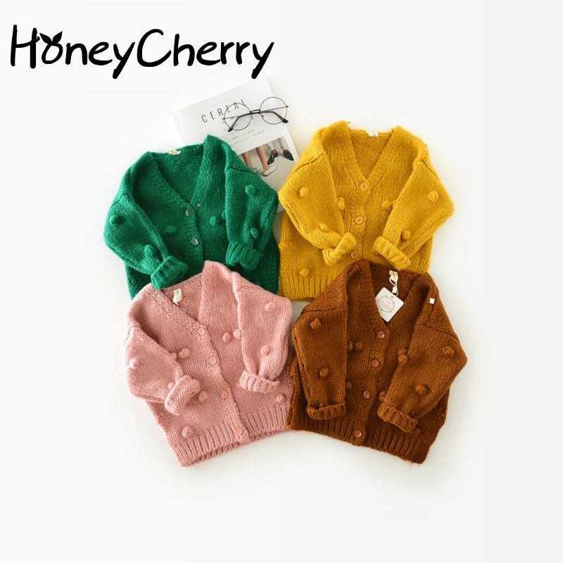 1-3 Years Old Baby <font><b>Girl</b></font> Sweater Child 17 Winter Ball In Hand Down Sweater Cardigan Jacket Cardigan For <font><b>Girl</b></font> <font><b>Girls</b></font> Cardigan