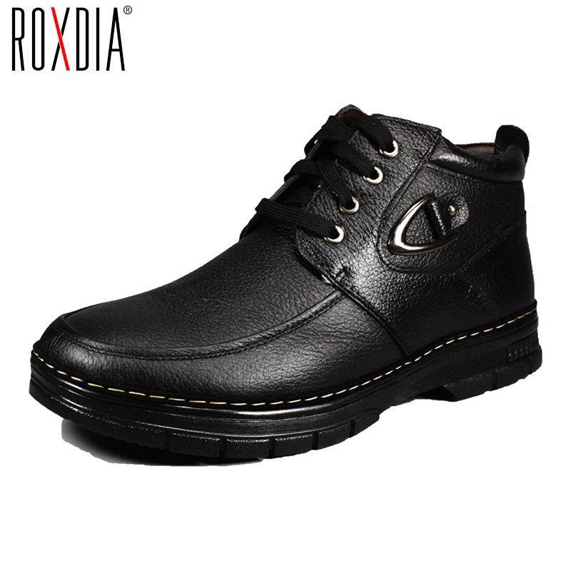 ROXDIA invierno hombres de cuero botas de nieve del tobillo de piel caliente de arranque a prueba de agua para el padre zapatos masculinos 39-44 RXM066