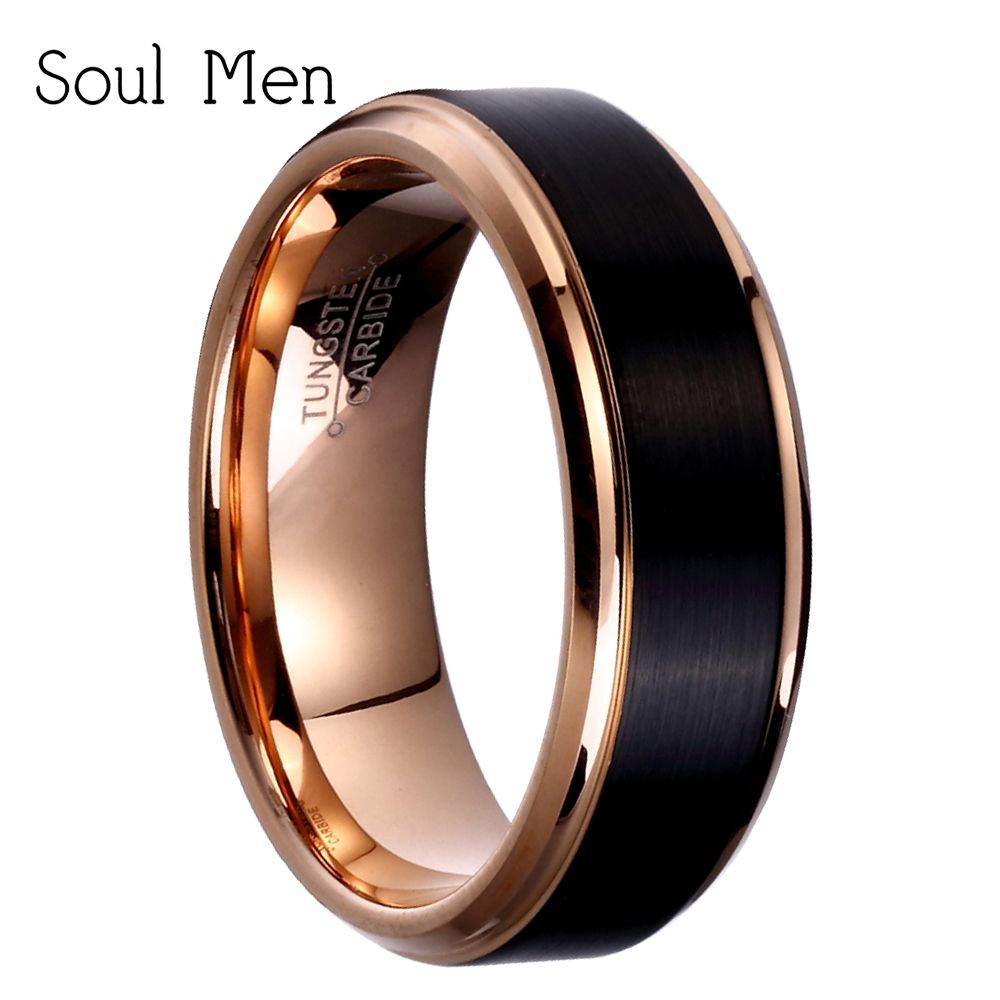8mm/6mm/4mm Black & Rose <font><b>Gold</b></font> Men's Tungsten Carbide Wedding Band for Boy and Girl Friendship Ring Russian Women Cool Jewelry