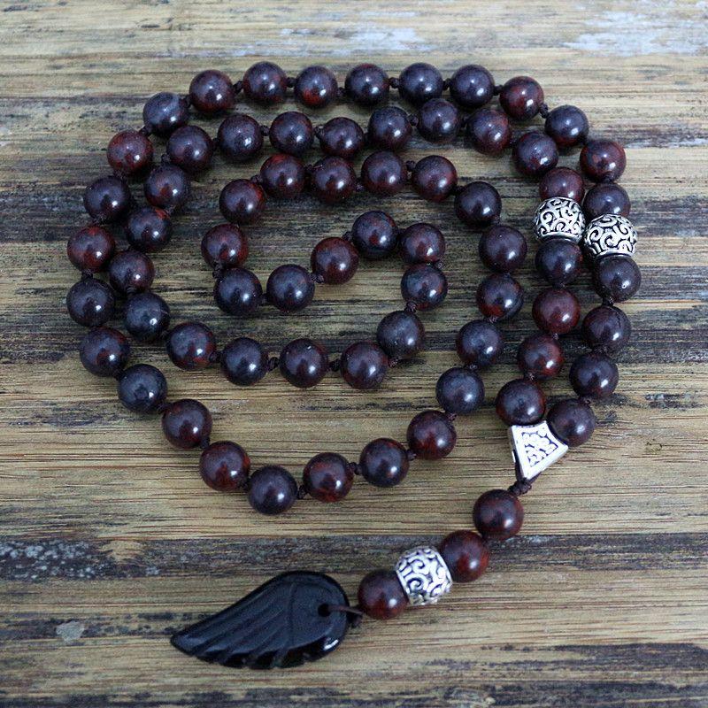 Qualité 8mm Noir Perles de pierre Naturelle avec pierre noire aile Pendentif Hommes Collier de Chapelet En Bois Perles De Mala bijoux