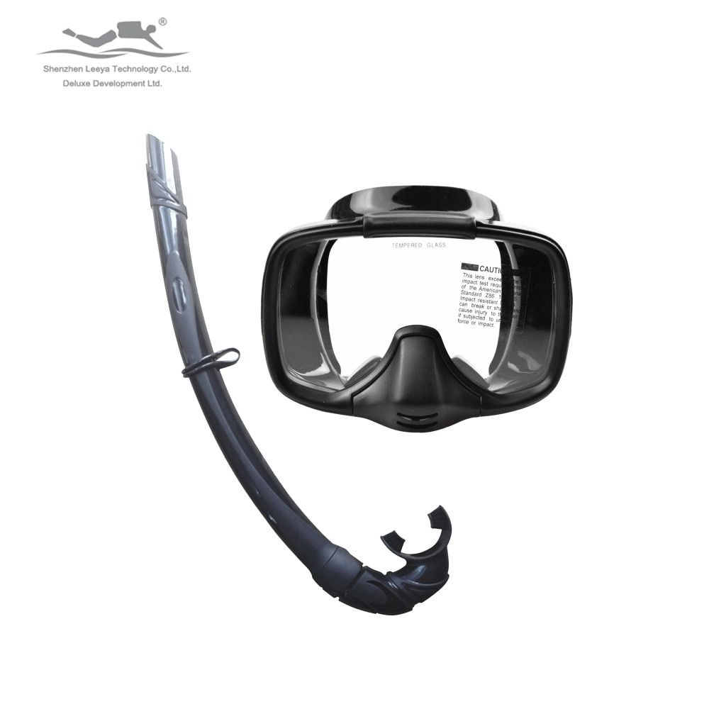 Diving Mark Surfing Gears Freeshiping Professional Scuba Diving Spearfishing Semi-dry diving mask snorkeling Set MS-25519(A)