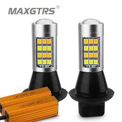 2X Dual Warna 42SMD 2835 T20 7440 W21W LED Lampu untuk Depan Mengubah Lampu Sinyal DRL Kesalahan Gratis CANBUS Putih /Es Biru & Kuning