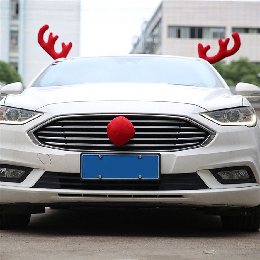 2017 New Pretty 1Set Merry Christmas Auto Car Decoration Gift Home New Design Creative Antlers Car Decorations