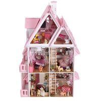 Muebles de bricolaje casa de muñecas de madera Miniatura muñeca casas muebles Kit rompecabezas hecho a mano casa de muñecas juguetes para niños niña regalo X001