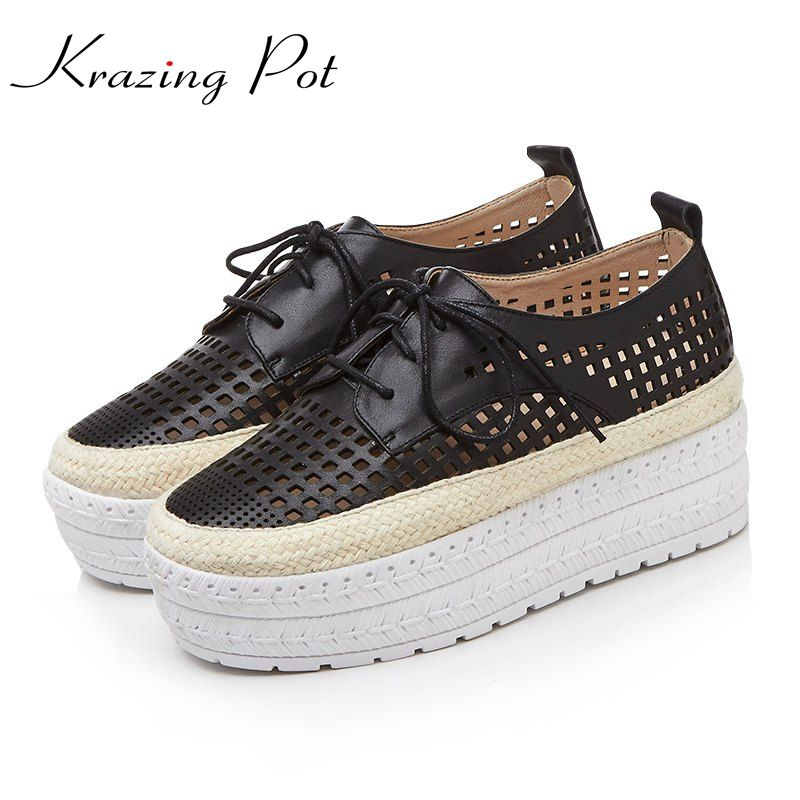 Krazing Pot genuine leather solid hollow increased platform loafers superstar breathable round toe lace up vulcanized shoes L99