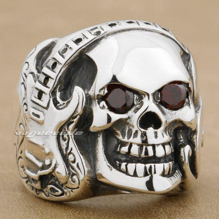 Guitar Music Skull 925 Sterling Silver Red CZ Eye Mens Rcker Ring 8V013
