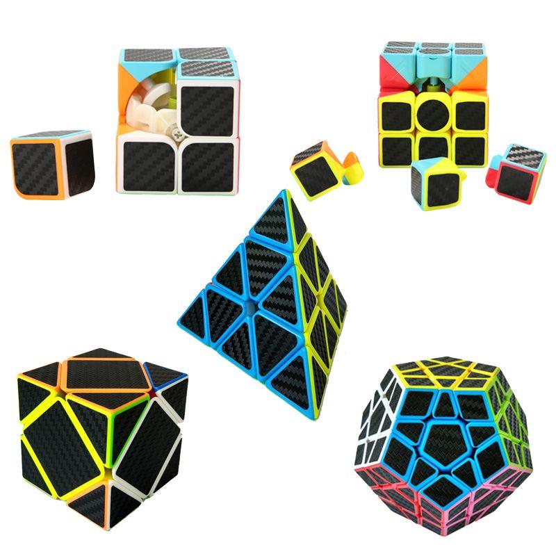 5 шт./компл. углерода Волокно Стикеры Magic Скорость Cube Профессиональный 2 х 2x2 3x3x3 Pyraminx megaminx перекос Cube куб образовательные головоломка