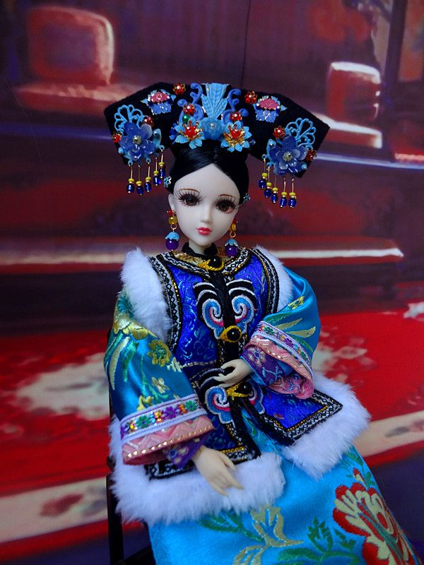 32cm Collectible Chinese Princess Dolls Vintage Qing Dynasty Girl Dolls With Flexible 12 Joints Body/3D Realistic Eyes Gifts