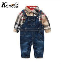 Kimocat nouveau prochain bébé garçon vêtements de printemps et automne Coton messieurs chemises à carreaux + Denim salopette