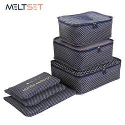6 unids/set organizador de viajes bolsas de almacenamiento portátil organizador de equipaje ropa ordenada maleta bolsa lavandería embalaje bolsa de almacenamiento caso