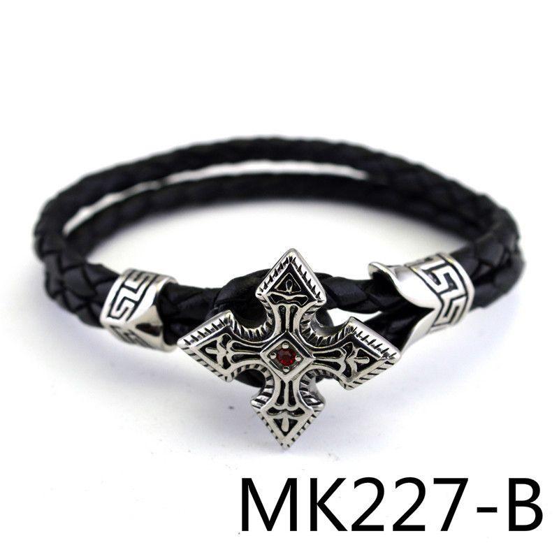 European Restore Ancient Leather Rope Bracelet Titanium Crystal Hand Decorate PUNK Man Women's stonery Product MK227