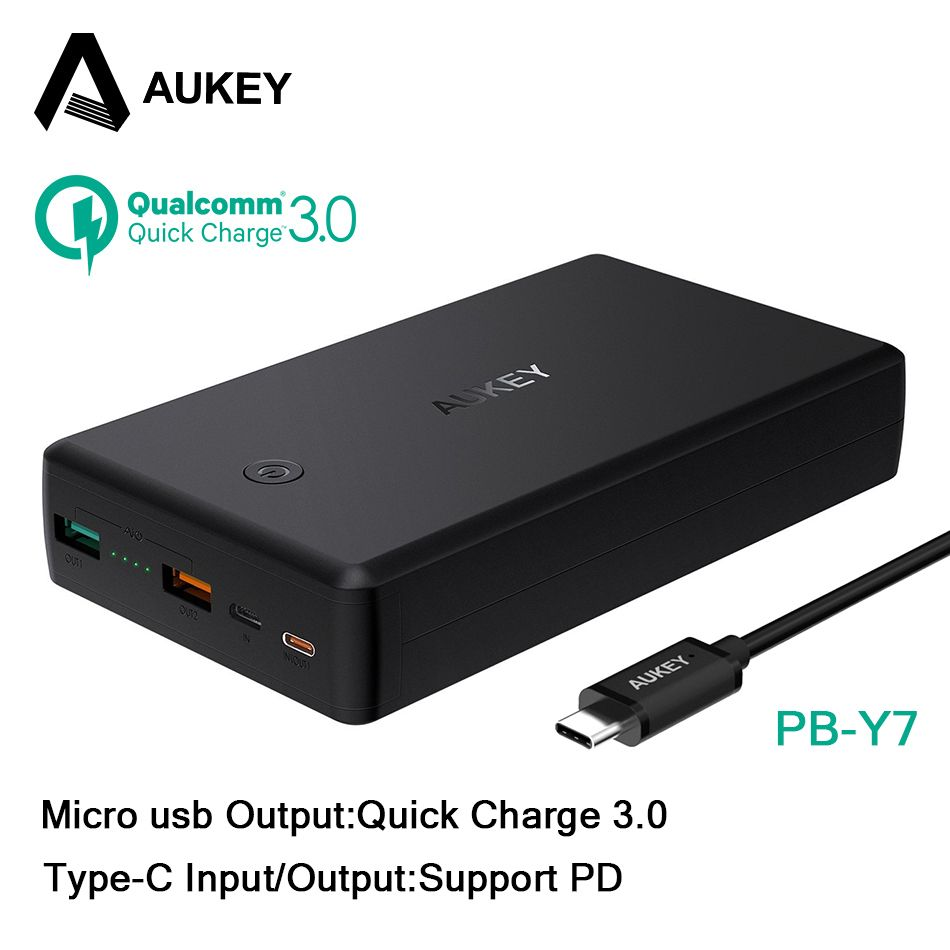 AUKEY 30000mAh Power Bank Quick Charge 3.0 + PD Fast Charge Dual USB Powerbank Portable External Battery for Xiaomi iPhone 8 X