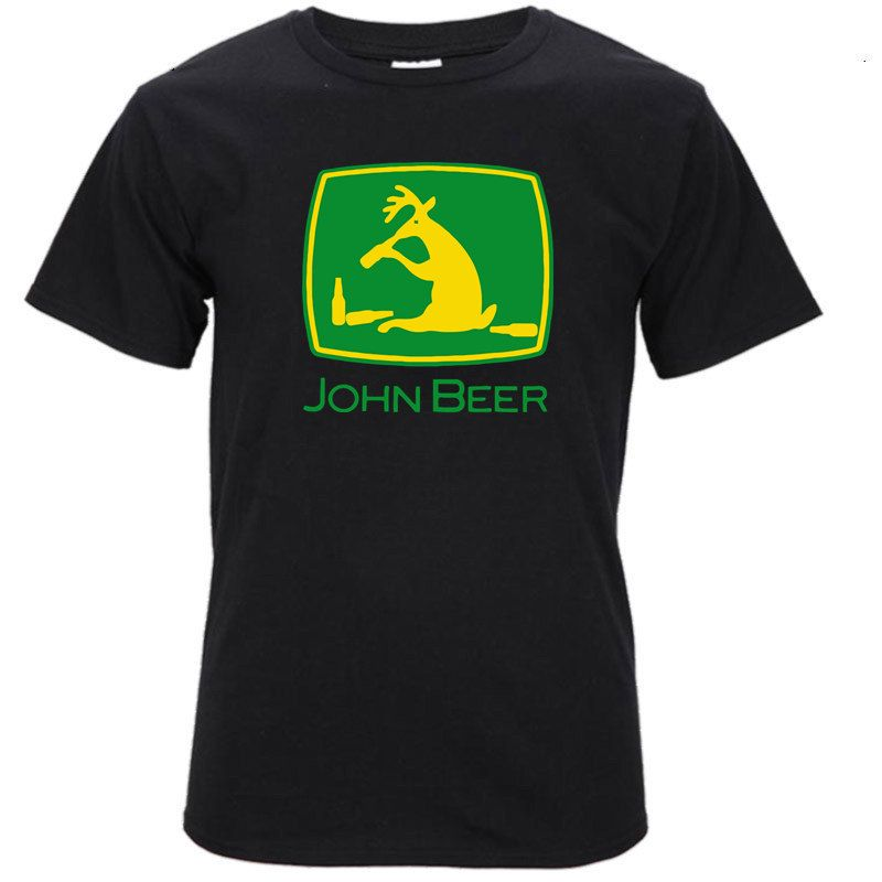 2017 New Fashion John Beer \ Tractor Deere 3D Printed Men's 100% Cotton T Shirts High Quality O-Neck Short Sleeve Tee
