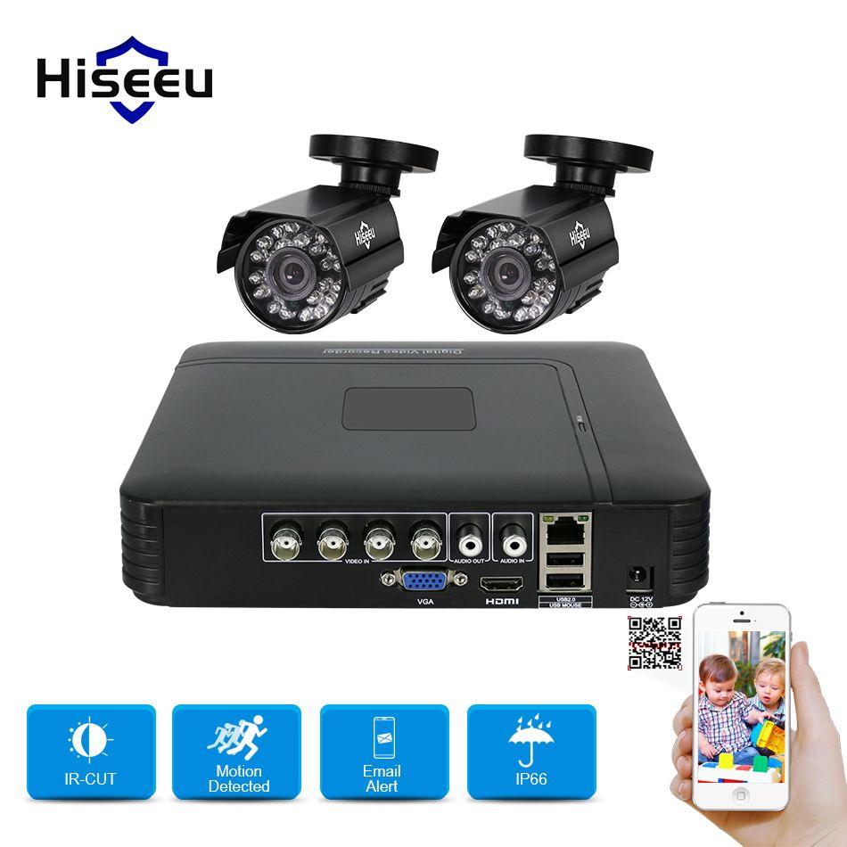 Hiseeu HD 4CH 1080N 5in1 AHD DVR Kit CCTV System 2pcs 720P AHD waterproof/dome IR Camera P2P Security Surveillance Set