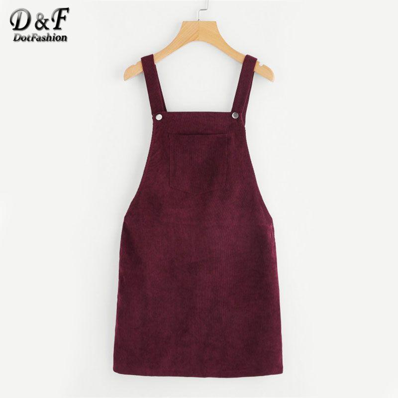 Dotfashion Bib Pocket Front Overall Dress 2019 Burgundy Square Neck Pinafore Cute Shift Dress Sleeveless Short Dress