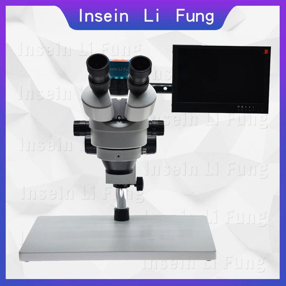 2019 neue FHD 28MP 1080 P 60FPS HDMI Video Mikroskop Kamera Trinokular Synchron Fokus Stereo Mikroskop 3.5X-90X Telefon reparatur