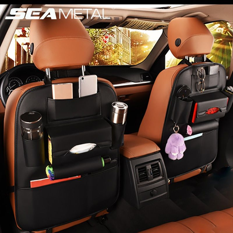 Car Seat Back Storage Bag Organizer Travel Box Pocket PU Leather <font><b>Universal</b></font> Stowing Tidying Protector Kids Drink Auto Accessoires