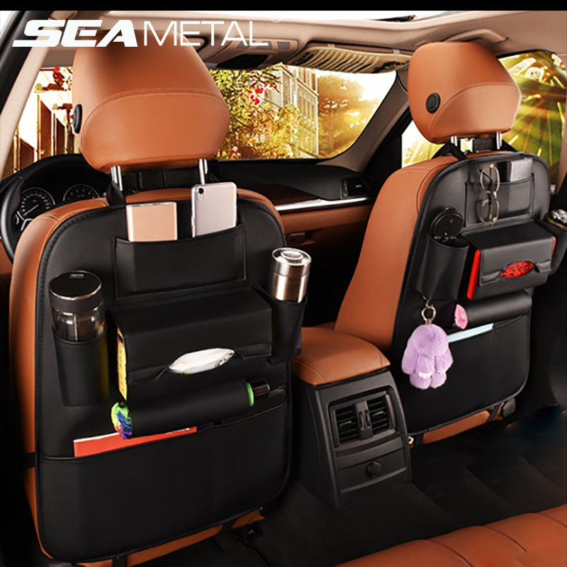 Car <font><b>Seat</b></font> Back Storage Bag Organizer Travel Box Pocket PU Leather Universal Stowing Tidying Protector Kids Drink Auto Accessoires