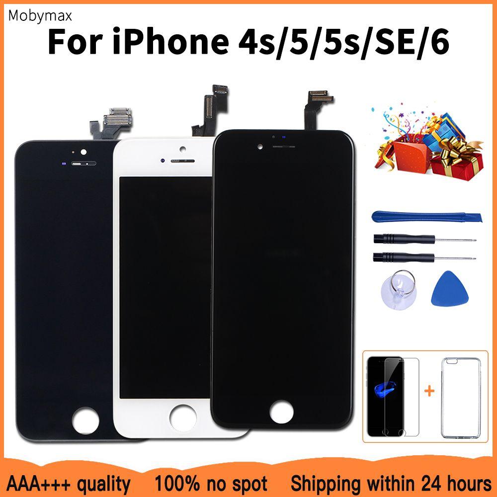 Écran LCD de qualité AAA + + + pour iPhone 6 remplacement de l'écran tactile pour iPhone 5 5c 5 s SE 4 s pas de Pixel mort + verre trempé + outils + TPU