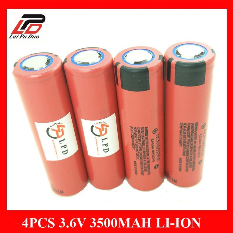 4pcs/lot Newest Original 3.6v 18650 Rechargeable Battery Li-ion for Sanyo 3500mah NCR18650GA 10A discharge