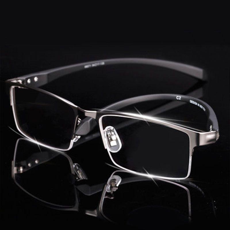 Monture de lunettes en alliage de titane pour hommes lunettes pour hommes branches flexibles jambes en alliage de galvanoplastie IP, jante complète et demi-jante