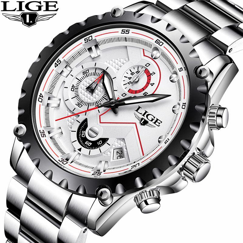 Watches Men Top Brand LIGE Fashion Men Sport Quartz Clock Mens Watches Full Steel Business Waterproof Watch Relogio Masculino