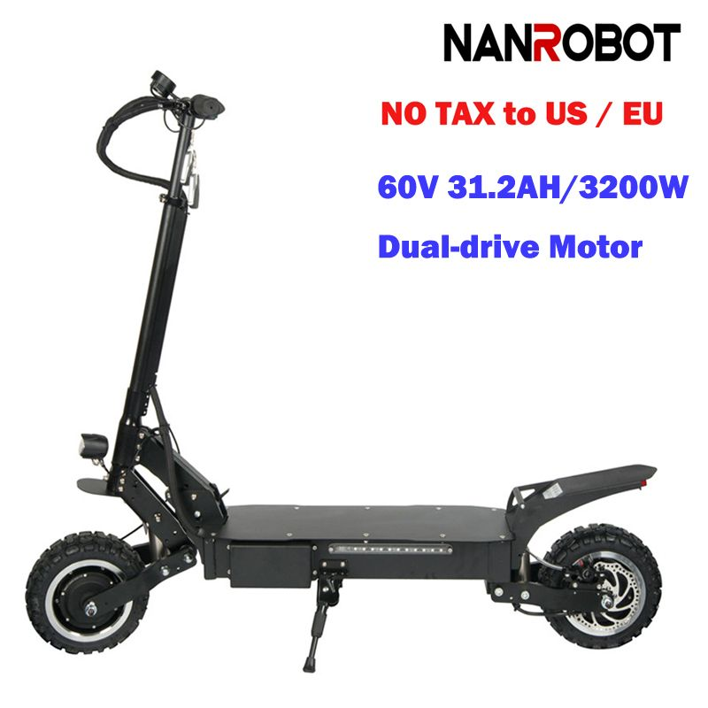 NANROBOT RS4 11'' Electric Scooter 60V 31.2AH 3200W Adult High Speed-Portable Folding, Detachable Seat 45 MPH and 55 Miles Range