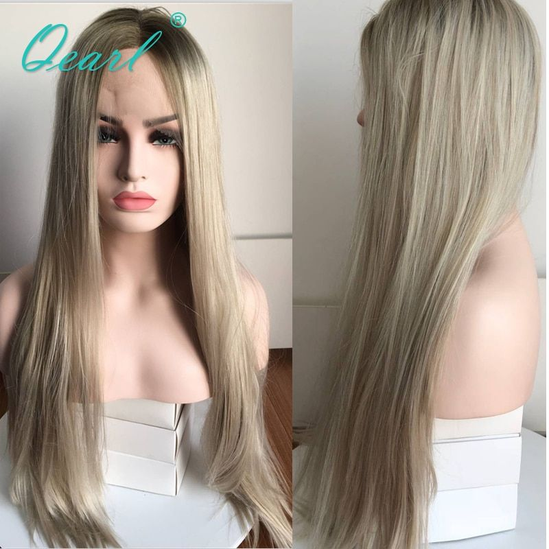 Middle Part Straight Human Hair Lace Front Wig With Baby Hairs Ombre Grey Blonde Color Brazilian Remy Hair 13x4 Preplucked Qearl
