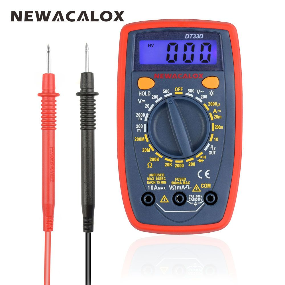NEWACALOX DT33 LCD multimètre numérique rétro-éclairage AC/DC ampèremètre voltmètre Ohm Portable pince mètres testeur de capacité