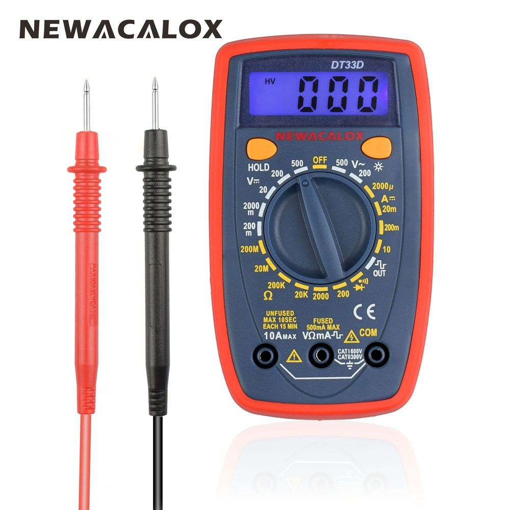 Newacalox dt33 ЖК-дисплей Цифровой мультиметр подсветкой AC/DC Амперметр Вольтметр Ом Портативный Токовые клещи Емкость Тестер
