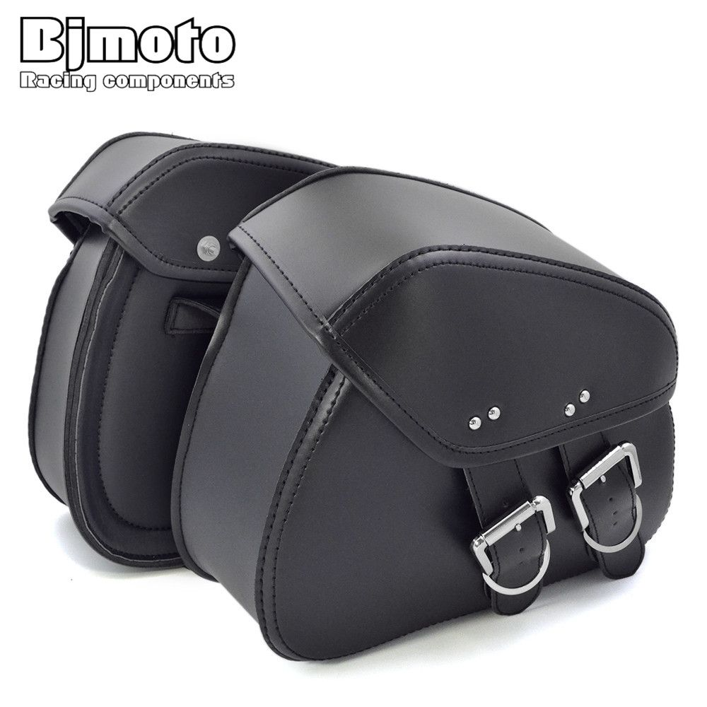 BJMOTO 2017 NEW Motorcycle PU Leather Saddlebags Saddle with Ample Space to Store Tool Pouch <font><b>Side</b></font> Bag For Harley