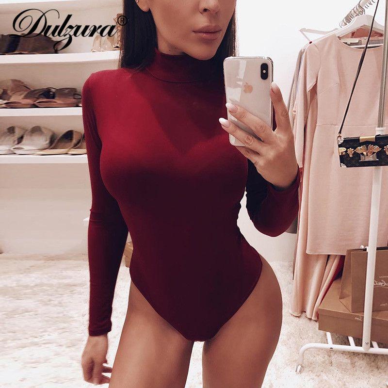 Dulzura coton à manches longues femmes sexy body 2019 automne hiver femme faux cou chaud vêtements slim fit mode solide corps costume