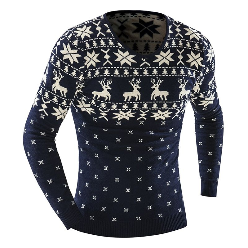 2018 Autumn Winter Pullover Men Christmas  Sweater Jumper V Neck Deer Pattern Slim Fit Knitted Christmas Sweaters Knitwear