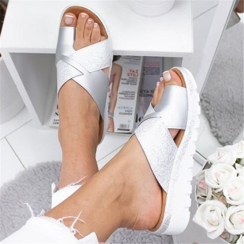 Women Artificial PU Shoes Slippers Orthopedic Bunion Corrector Comfy Platform Wedge Ladies Casual Big Toe Correction Sandal