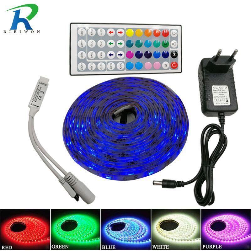 RiRi won SMD RGB LED Strip Light 5050 4M 8M 10m 5m 30Leds/m led Tape Waterproof diode ribbon 44K Controller DC 12V adapter set