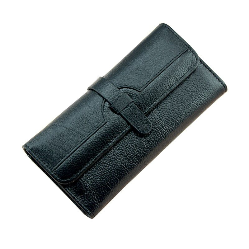 100% Lychi Cowhide Leather Wallet Women Trifold Long Genuine Leather Clutch Purse Hasp <font><b>Female</b></font> Cellphone Bag Girl Card Holder