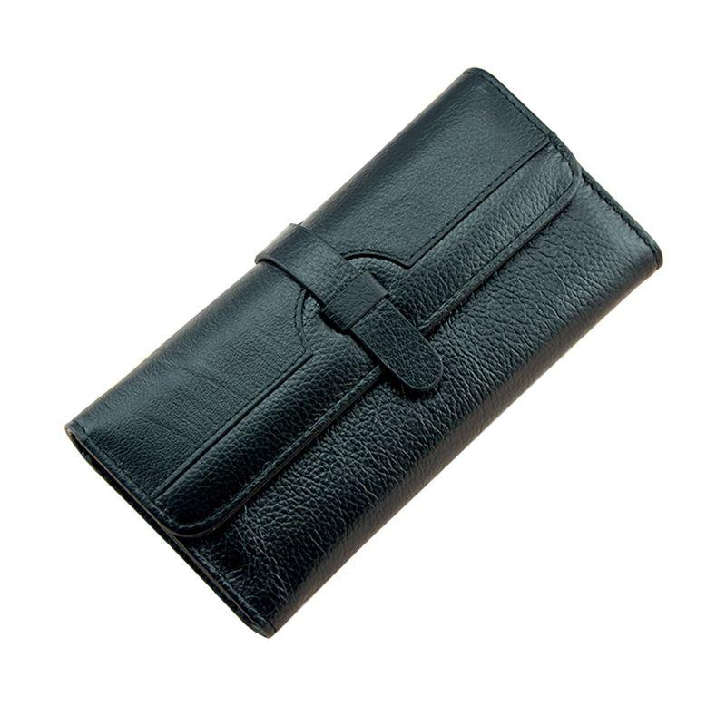 100% lychi натуральной кожи бумажник Для женщин этих длинный Пояса из натуральной кожи клатч кошелек HASP женский мобильный телефон сумка девушка...