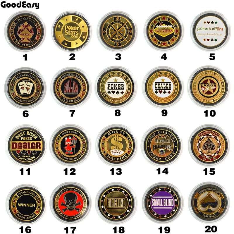 Poker Cards Guard Protector Metal Token Coin&Plastic Cover Pokerstar Metal Texas Poker Chip Button Dealer ALL IN BIG/SMALL Blind