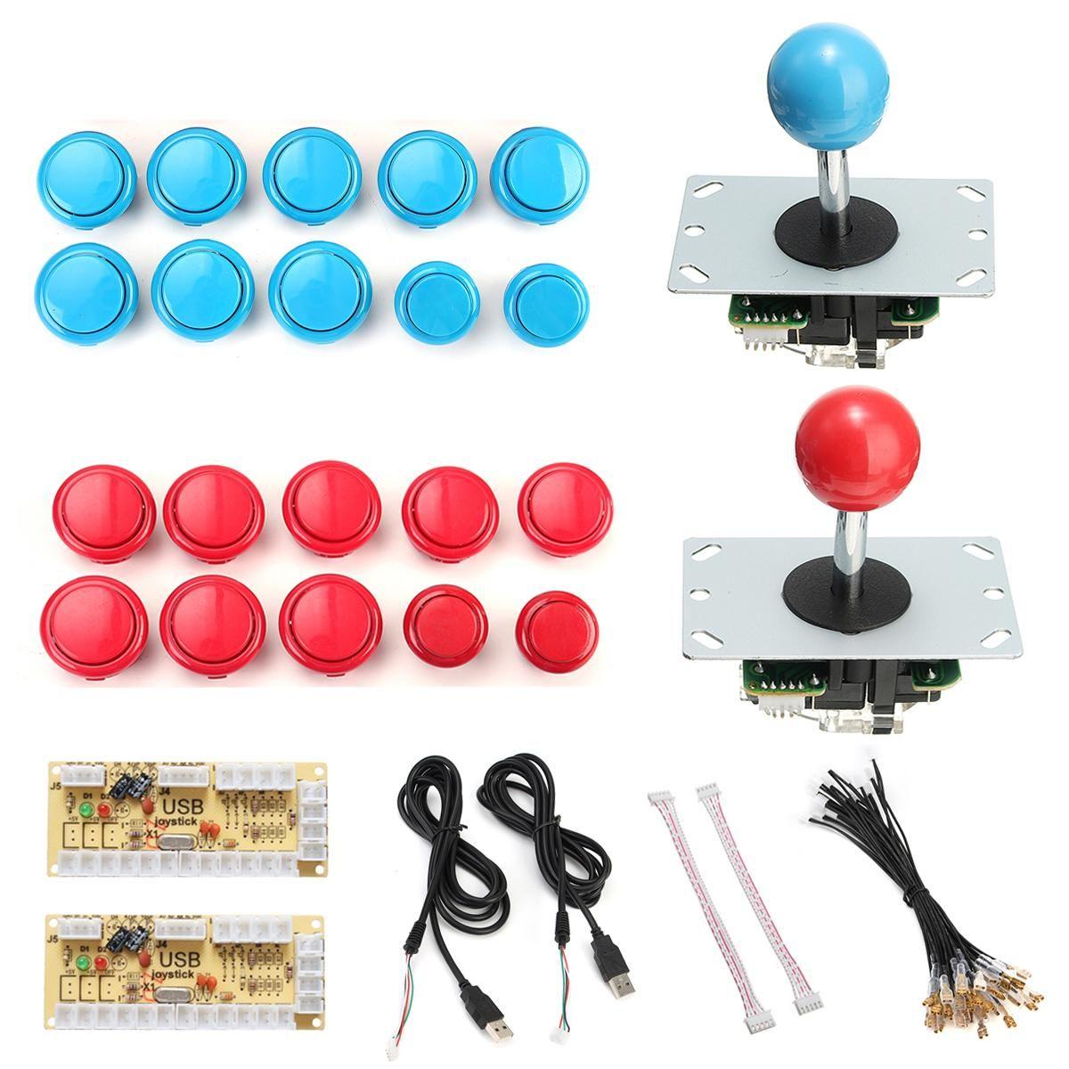 Blue Red Arcade Game DIY Joystick Kits With 20x Push Buttons + 2x Joysticks + 2x USB Encoder Board For Joystick Arcade Game Kits