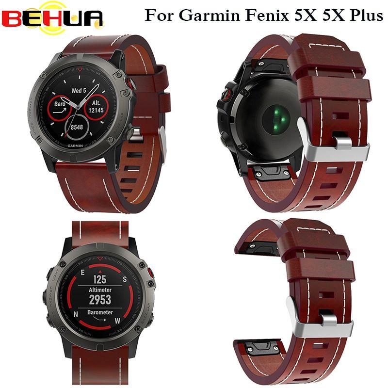 New Leather wrist Watch Strap Easy fit quick Bracelet Belt 26MM For Garmin Fenix 3/ Fenix 5X 5X Plus Smart Watch band wristband