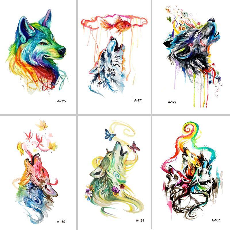 MEJOR Fran fansHot F nuevo 2 unids set Diseño encantador Lobo El Brazo Tatuaje falso Tatuaje Temporal A Prueba de agua Pegatinas para Hombres de Las Mujeres Del Cuerpo arte