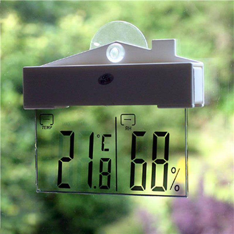 Метеостанция Большой ЖК-дисплей Термометр оконный Ареометр Крытый Открытый присоске цифровой термометр