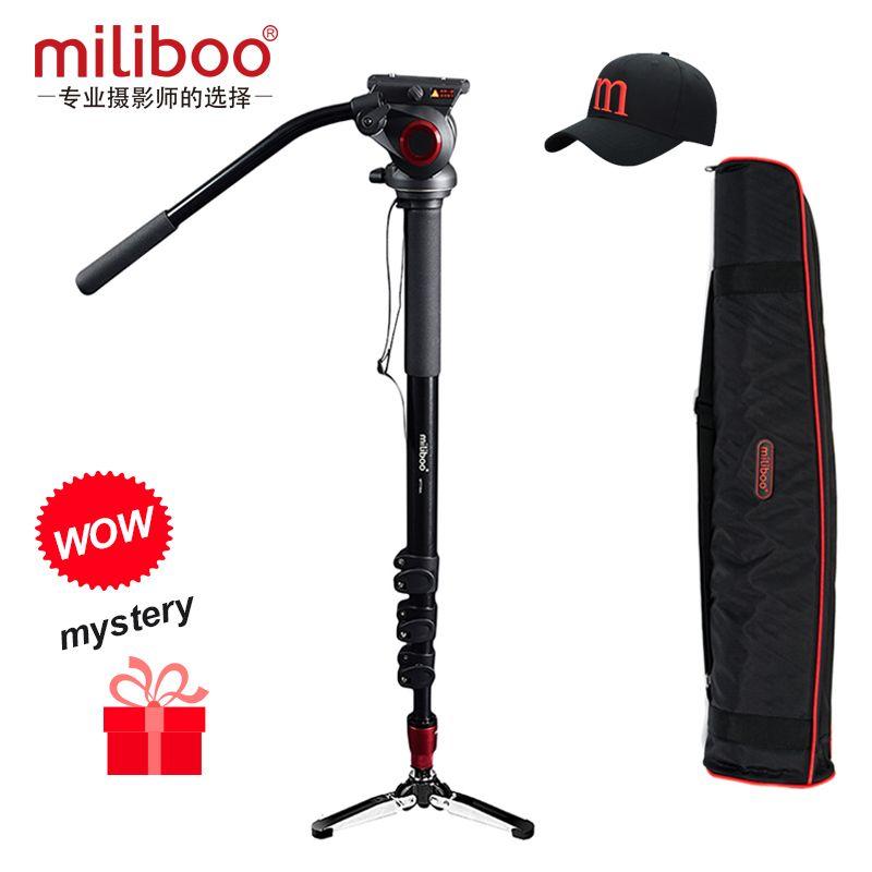 Miliboo Professionnel En Aluminium Portable Caméra monopode avec Hydraulique Tête trépied Unipod avec 1/4, 3/8 voyage à vis