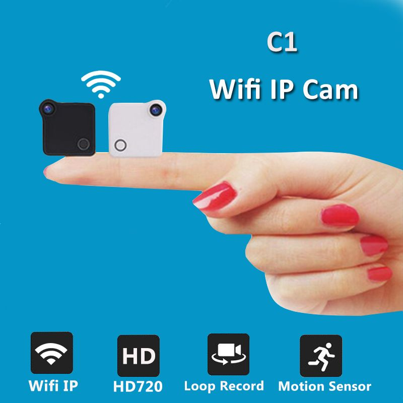 C1 Mini Camera Wifi IP 720P HD <font><b>Body</b></font> Camera H.264 P2P Motion Sensor Micro Camera Digital Video Camcorder Wireless Bike Cam